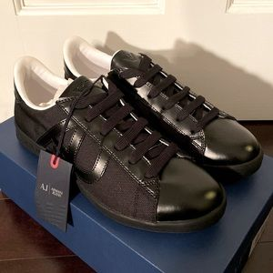 NIB Armani Jeans Blk Canvas Leather Mens Sneakers